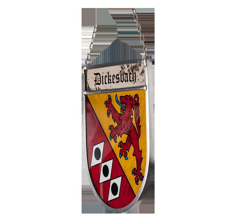 Gemeindewappen – Seitliche Aufnahme des Glaswappens für die Gemeinde Dickesbach