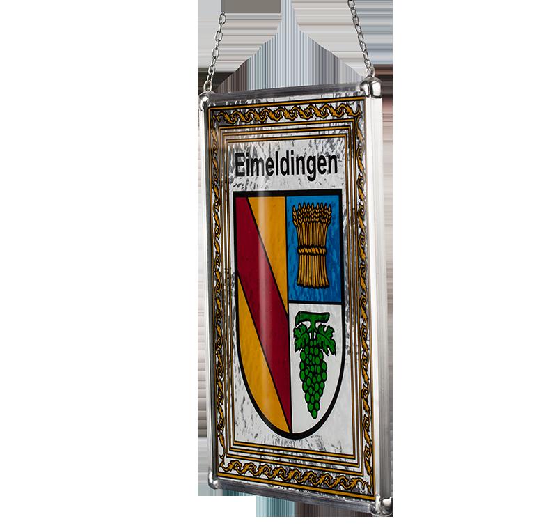 Gemeindewappen – Seitliche Aufnahme des Glaswappens für die Gemeinde Eimeldingen