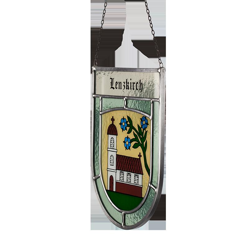 Gemeindewappen – Seitliche Aufnahme des Glaswappens für die Gemeinde Lenzkirch