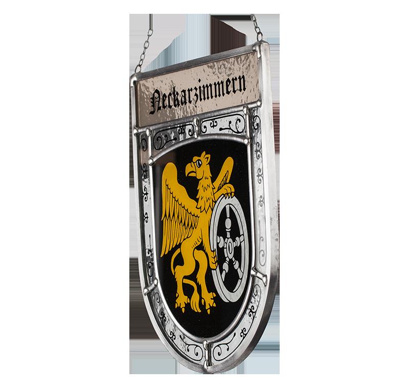 Gemeindewappen: Seitliche Aufnahme des Glaswappens für die Stadt Neckarzimmern