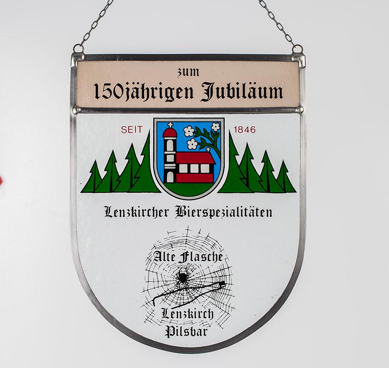 Sonderanfertigung: Glaswappen zum 150 jährigen Jubiläum der Lenzkircher Bierspezialistäten