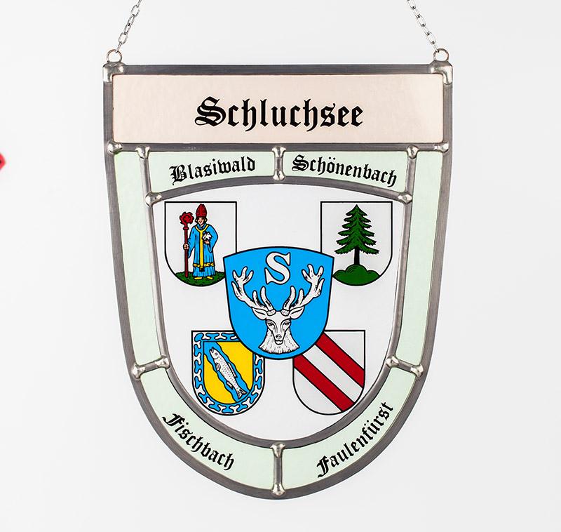 Sonderanfertigung: Glaswappen für die Gemeinde Schluchsee mit Abbildung aller Partnergemeinden