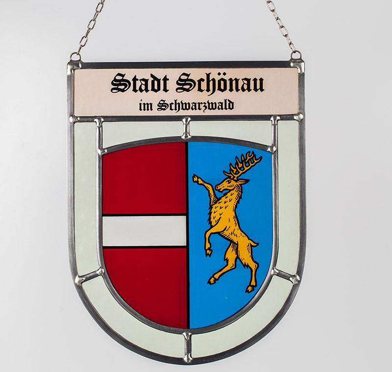 Stadtwappen: Glaswappen für die Stadt Schönau im Schwarzwald