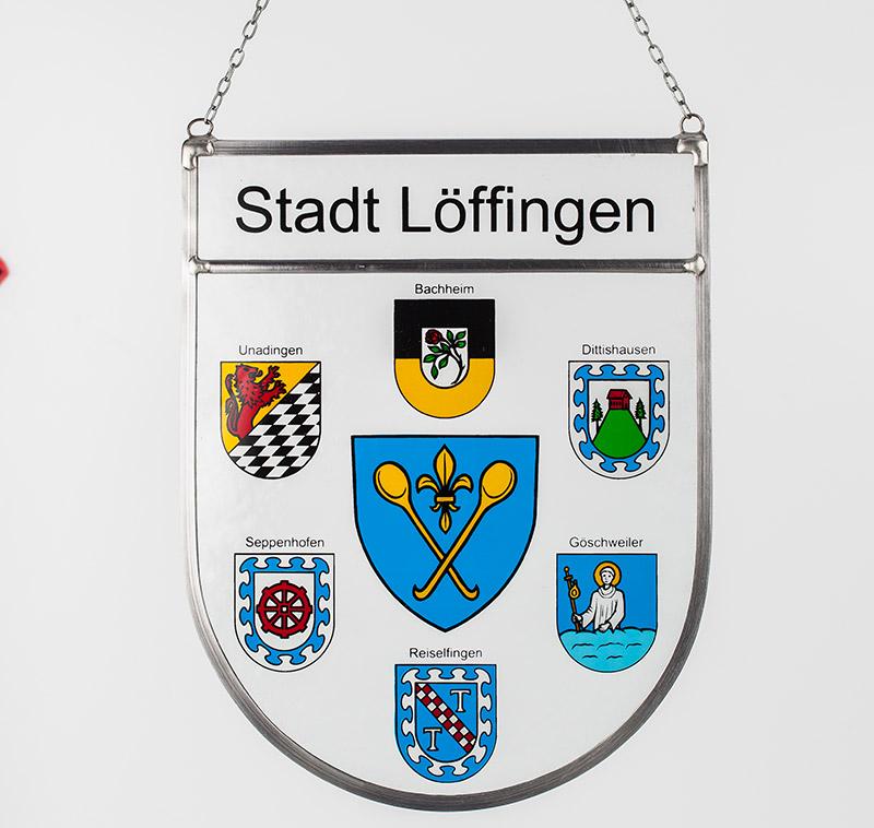 Stadtwappen – Glaswappen für die Stadt Löffingen mit den Partnerstädten Bachheim, Unadingen, Dittishausen, Seppenhofen, Reisefingen und Göschweiler.